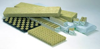 Rockwool slabs and cubes.