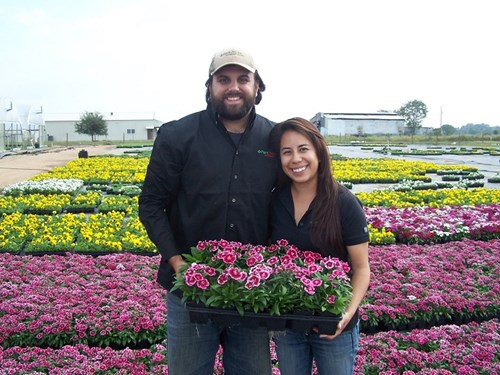 Chris and Rocio Hoskins from Plant Pro Inc. in TX with dianthus crop.
