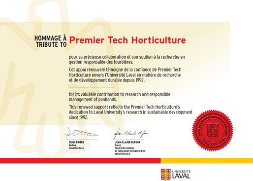 Responsible Management of Peatlands Laval University Premier Tech Horticulture