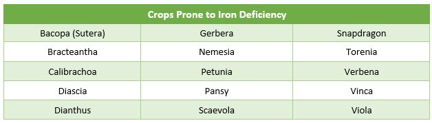 Crops prone to iron deficiency