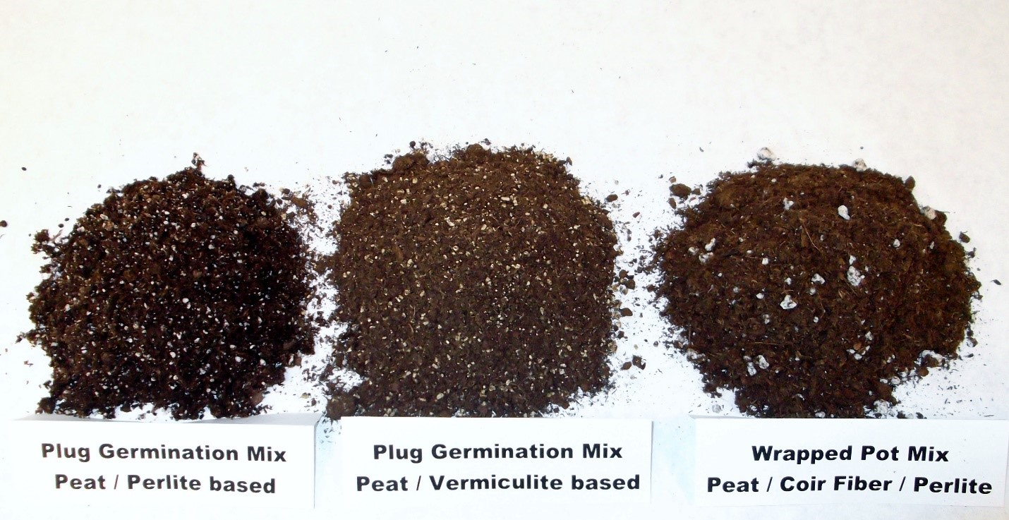 Examples of different growing media used for various young plant production methods